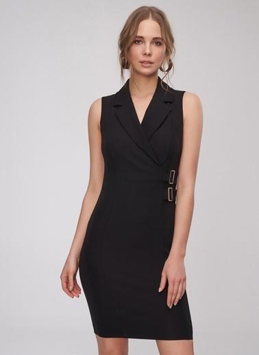 People By Fabrika Toka Detaylı Elbise Siyah